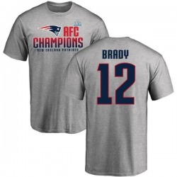 Men's Tom Brady New England Patriots 2017 AFC Champions T-Shirt - Heathered Gray