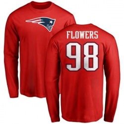 Men's Trey Flowers New England Patriots Name & Number Logo Long Sleeve T-Shirt - Red