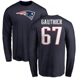 Men's Tyler Gauthier New England Patriots Name & Number Logo Long Sleeve T-Shirt - Navy