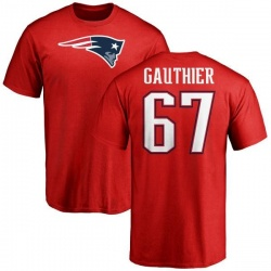 Men's Tyler Gauthier New England Patriots Name & Number Logo T-Shirt - Red