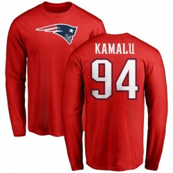 Men's Ufomba Kamalu New England Patriots Name & Number Logo Long Sleeve T-Shirt - Red