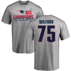 Men's Vince Wilfork New England Patriots 2017 AFC Champions T-Shirt - Heathered Gray