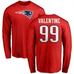 Men's Vincent Valentine New England Patriots Name & Number Logo Long Sleeve T-Shirt - Red