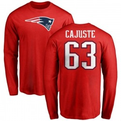 Men's Yodny Cajuste New England Patriots Name & Number Logo Long Sleeve T-Shirt - Red