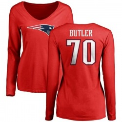Women's Adam Butler New England Patriots Name & Number Logo Slim Fit Long Sleeve T-Shirt - Red
