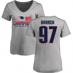 Women's Alan Branch New England Patriots 2017 AFC Champions V-Neck T-Shirt - Heather Gray