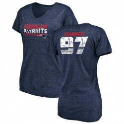 Women's Alan Branch New England Patriots Retro Tri-Blend V-Neck T-Shirt - Navy
