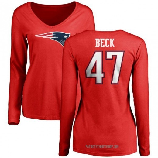 Women's Andrew Beck New England Patriots Name & Number Logo Slim Fit Long Sleeve T-Shirt - Red