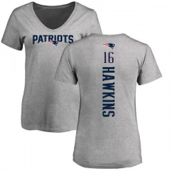 Women's Andrew Hawkins New England Patriots Backer V-Neck T-Shirt - Ash