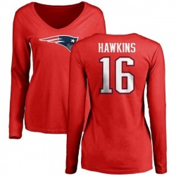 Women's Andrew Hawkins New England Patriots Name & Number Logo Slim Fit Long Sleeve T-Shirt - Red