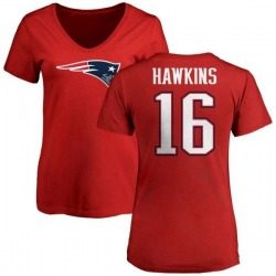 Women's Andrew Hawkins New England Patriots Name & Number Logo Slim Fit T-Shirt - Red