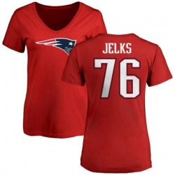 Women's Andrew Jelks New England Patriots Name & Number Logo Slim Fit T-Shirt - Red