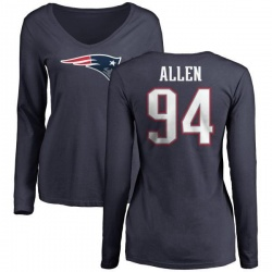 Women's Beau Allen New England Patriots Name & Number Logo Slim Fit Long Sleeve T-Shirt - Navy