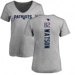 Women's Benjamin Watson New England Patriots Backer V-Neck T-Shirt - Ash