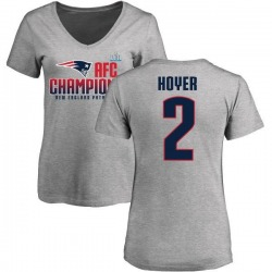 Women's Brian Hoyer New England Patriots 2017 AFC Champions V-Neck T-Shirt - Heather Gray