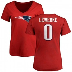 Women's Brian Lewerke New England Patriots Name & Number Logo Slim Fit T-Shirt - Red