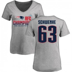 Women's Brian Schwenke New England Patriots 2017 AFC Champions V-Neck T-Shirt - Heather Gray