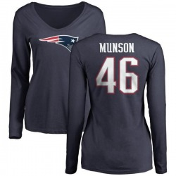 Women's Calvin Munson New England Patriots Name & Number Logo Slim Fit Long Sleeve T-Shirt - Navy