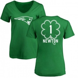 Women's Cam Newton New England Patriots Green St. Patrick's Day Name & Number V-Neck T-Shirt