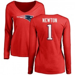 Women's Cam Newton New England Patriots Name & Number Logo Slim Fit Long Sleeve T-Shirt - Red