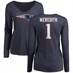 Women's Cameron Meredith New England Patriots Name & Number Logo Slim Fit Long Sleeve T-Shirt - Navy