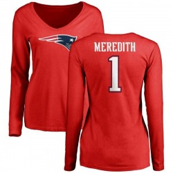 Women's Cameron Meredith New England Patriots Name & Number Logo Slim Fit Long Sleeve T-Shirt - Red