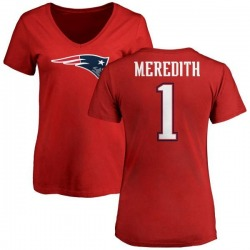 Women's Cameron Meredith New England Patriots Name & Number Logo Slim Fit T-Shirt - Red