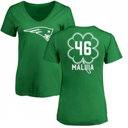 Women's Cassh Maluia New England Patriots Green St. Patrick's Day Name & Number V-Neck T-Shirt