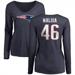 Women's Cassh Maluia New England Patriots Name & Number Logo Slim Fit Long Sleeve T-Shirt - Navy