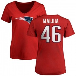 Women's Cassh Maluia New England Patriots Name & Number Logo Slim Fit T-Shirt - Red