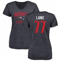 Women's Cedrick Lang New England Patriots Navy Distressed Name & Number Tri-Blend V-Neck T-Shirt