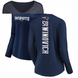 Women's Chase Winovich New England Patriots Backer Slim Fit Long Sleeve T-Shirt - Navy