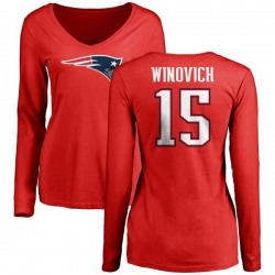 Women's Chase Winovich New England Patriots Name & Number Logo Slim Fit Long Sleeve T-Shirt - Red