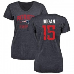 Women's Chris Hogan New England Patriots Navy Distressed Name & Number Tri-Blend V-Neck T-Shirt