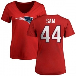 Women's Christian Sam New England Patriots Name & Number Logo Slim Fit T-Shirt - Red