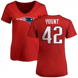 Women's Christian Yount New England Patriots Name & Number Logo Slim Fit T-Shirt - Red