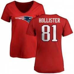 Women's Cody Hollister New England Patriots Name & Number Logo Slim Fit T-Shirt - Red