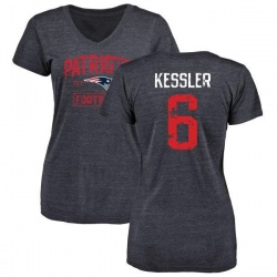 Women's Cody Kessler New England Patriots Navy Distressed Name & Number Tri-Blend V-Neck T-Shirt