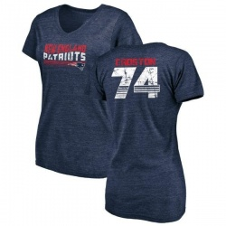 Women's Cole Croston New England Patriots Retro Tri-Blend V-Neck T-Shirt - Navy