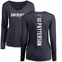 Women's Damoun Patterson New England Patriots Backer Slim Fit Long Sleeve T-Shirt - Navy
