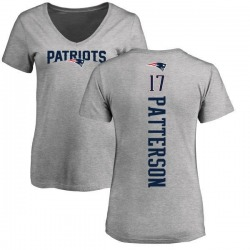 Women's Damoun Patterson New England Patriots Backer V-Neck T-Shirt - Ash