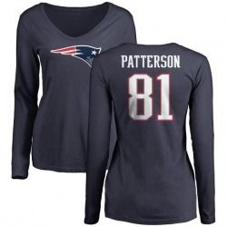 Women's Damoun Patterson New England Patriots Name & Number Logo Slim Fit Long Sleeve T-Shirt - Navy