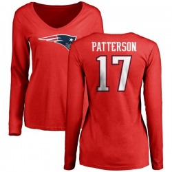 Women's Damoun Patterson New England Patriots Name & Number Logo Slim Fit Long Sleeve T-Shirt - Red