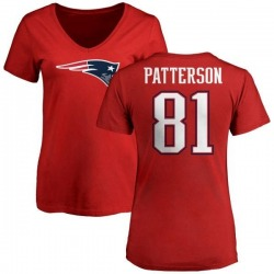 Women's Damoun Patterson New England Patriots Name & Number Logo Slim Fit T-Shirt - Red