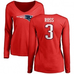 Women's D'Angelo Ross New England Patriots Name & Number Logo Slim Fit Long Sleeve T-Shirt - Red