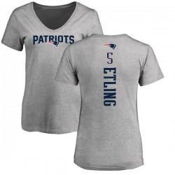 Women's Danny Etling New England Patriots Backer V-Neck T-Shirt - Ash
