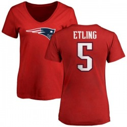 Women's Danny Etling New England Patriots Name & Number Logo Slim Fit T-Shirt - Red