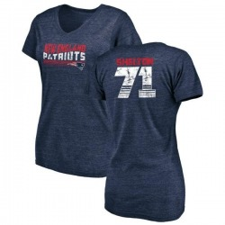 Women's Danny Shelton New England Patriots Retro Tri-Blend V-Neck T-Shirt - Navy