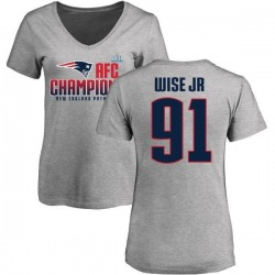 Women's Deatrich Wise Jr. New England Patriots 2017 AFC Champions V-Neck T-Shirt - Heather Gray