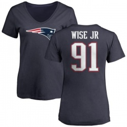 Women's Deatrich Wise Jr. New England Patriots Name & Number Logo T-Shirt - Navy